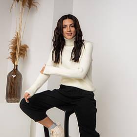 Женский свитер в рубчик с высокой горловиной в  цветах в размерах SM, ML