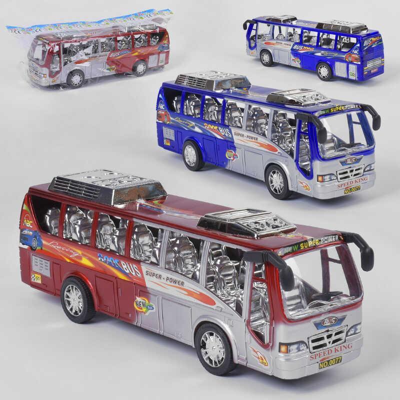 Автобус 0077 (60/2) 2 цвета, инерционный, в кульке