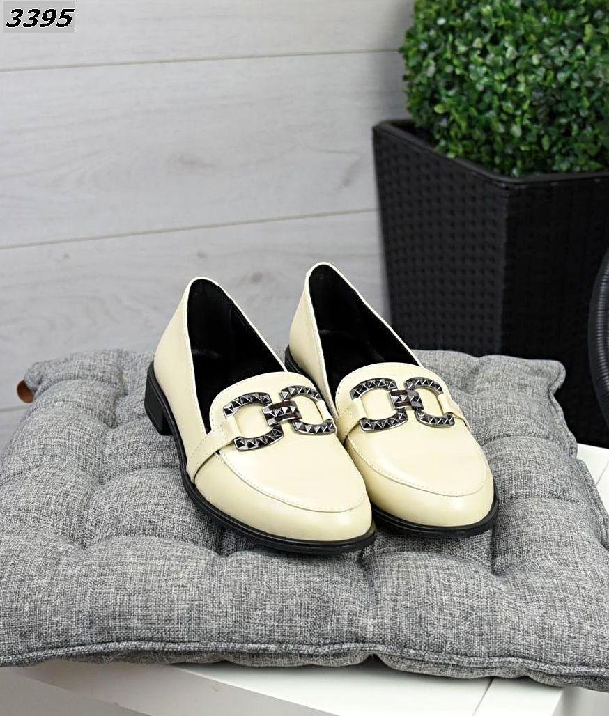 Жіночі шкіряні туфлі лофери 36-41 р кремовий