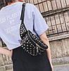 Жіноча сумка на пояс бананка з заклепками Чорний, фото 6