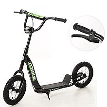 Самокат підлітковий для дитини ITrike SR 2-043-1-B з гумовими колесами і підніжкою