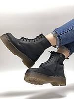 Женские кожаные ботинки Dr. Martens Jadon Black Crazy Horse (Доктор Мартинс Жадон черного цвета кожаные 36-40), фото 1