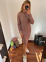 В'язане, модне теплу сукню Капучіно, фото 1