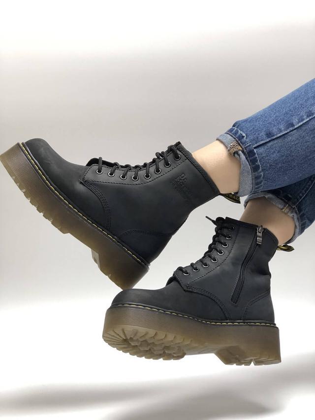 Женские кожаные ботинки Dr. Martens Jadon Black Crazy Horse  фото