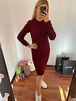 В'язане, модне теплу сукню Бордовий, фото 1