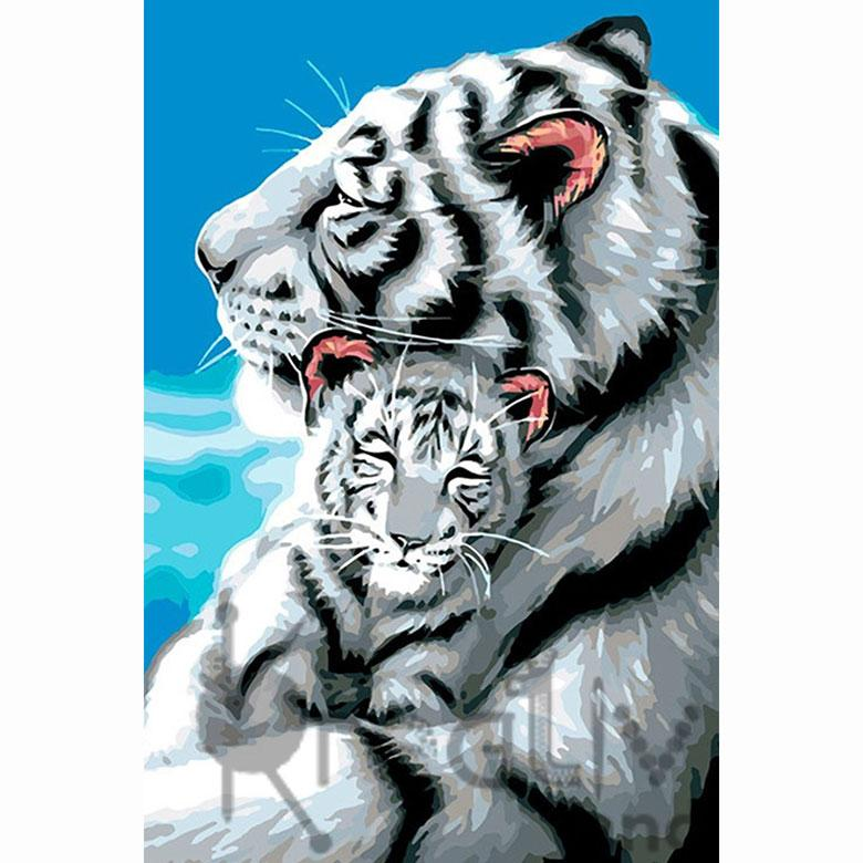 Картина раскраска по номерам на холсте 20*30см Josef Otten RAS2303_O Белые тигры