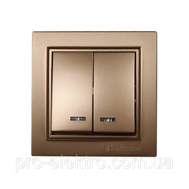 Выключатель с подсветкой двойной Enzo (роскошно золотой) EH-2184-LG