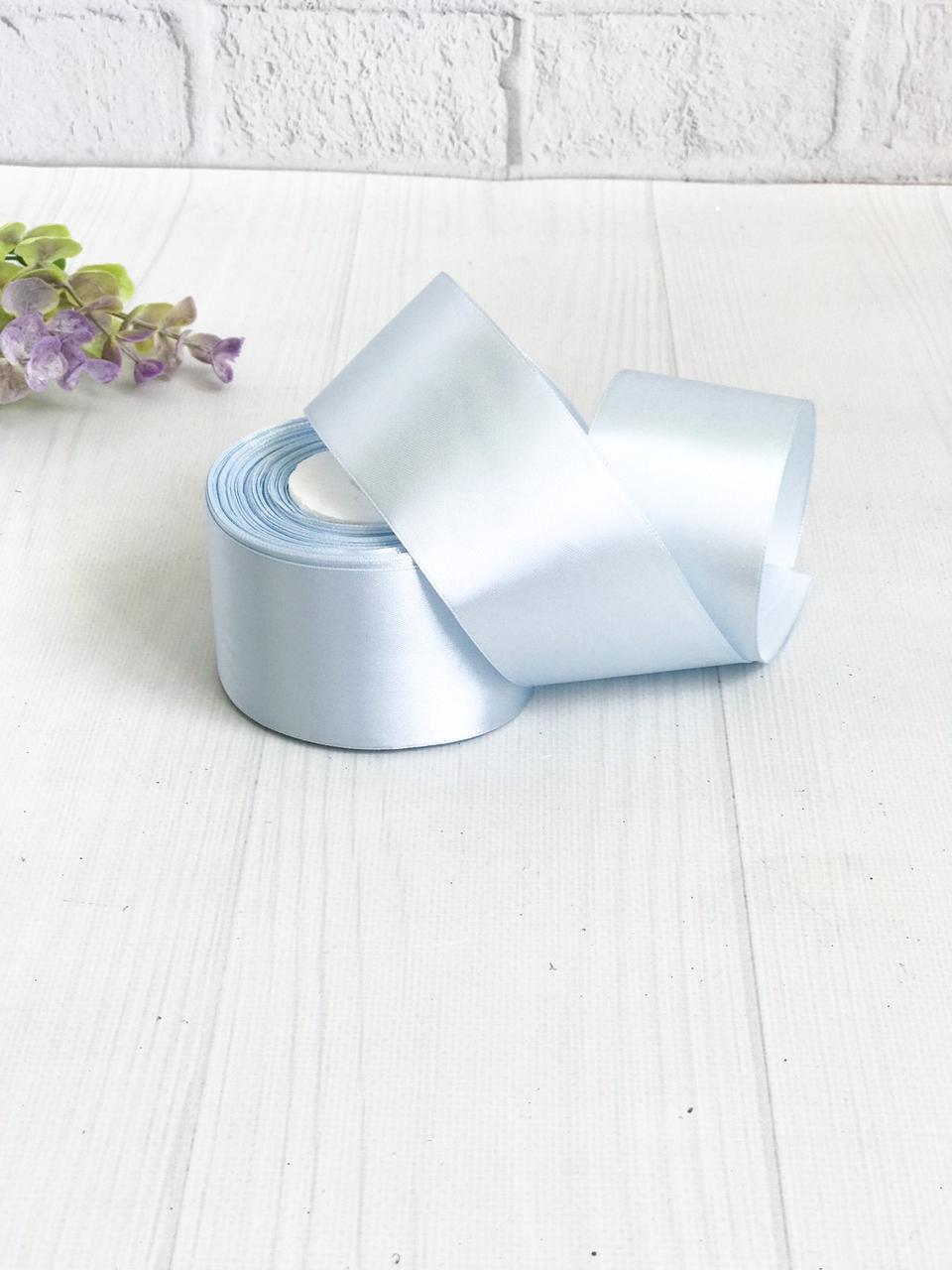 Лента атласная 5 см бледно-голубая