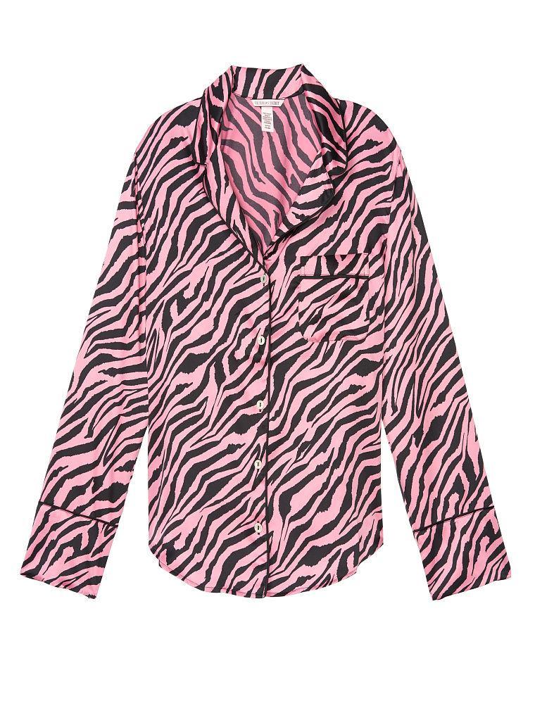 Сатиновая пижамная рубашка Victorias Secret art961789 (Розовый, размер S)