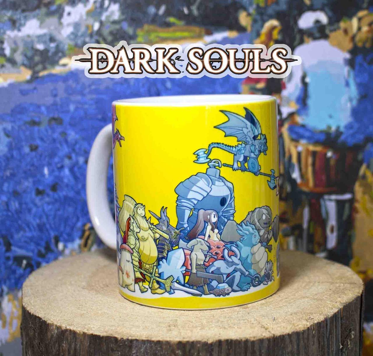 """Чашка Темные души """"Герои"""" на желтом / Dark Souls"""