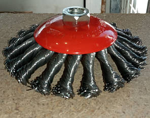Щетка для болгарки 1004 конус плетен.провол.125мм сталь, фото 2