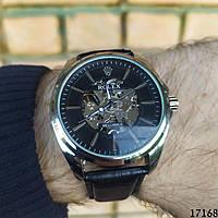 Мужские наручные часы механические + автоподзавод серебристые в стиле Rolex. Годинник чоловічий механічний