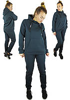 Теплый женский спортивный костюм с капюшоном изумрудного цвета S, M, L