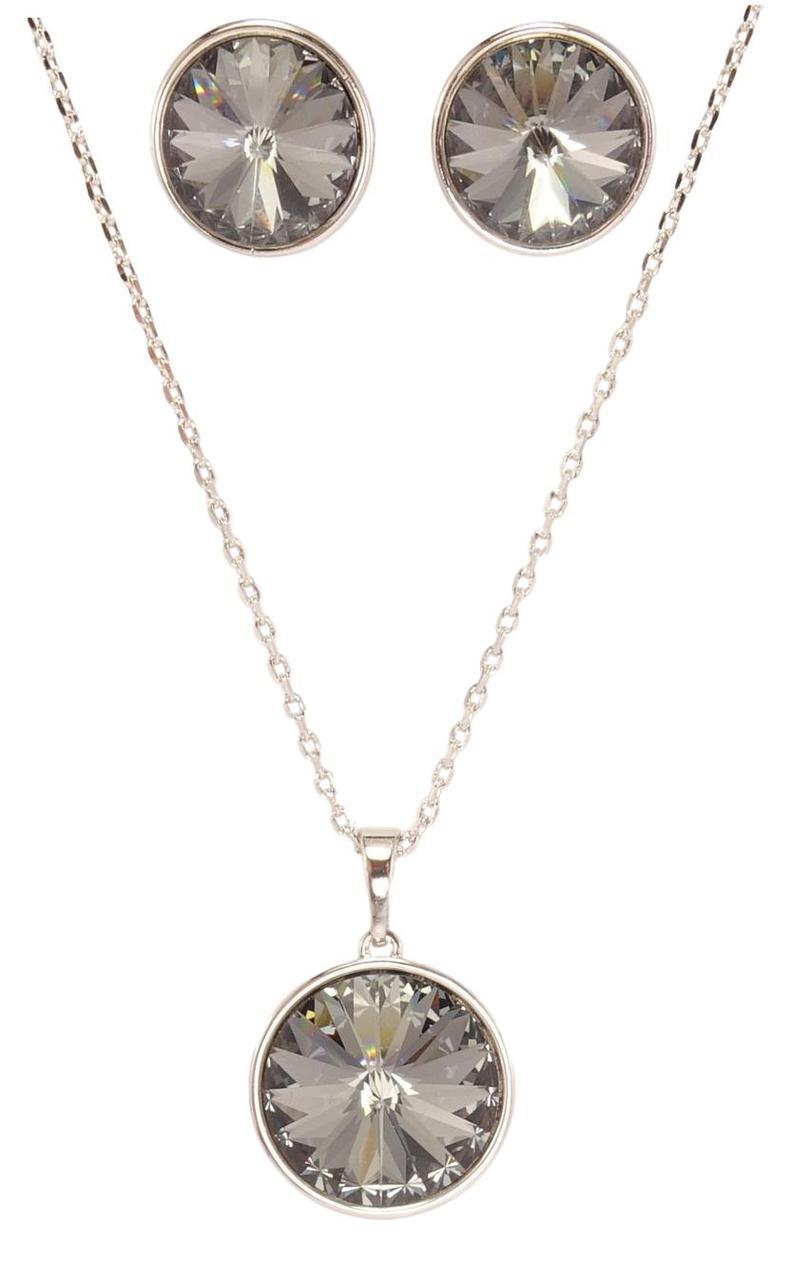 """Набір XP Родій з кристалами Swarovski Сережки Кулон на ланцюжку """"Кристал Rivoli"""" довжина 40.5-45.см х 1мм; ø12мм"""