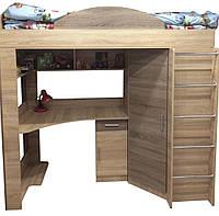 Кровать чердак детская двухъярусная с рабочей зоной со шкафом с лестницей