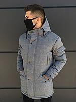 Зимняя мужская парка LC Imperial до - 30*С | Куртка удлиненная теплая с капюшоном серая ЛЮКС качества