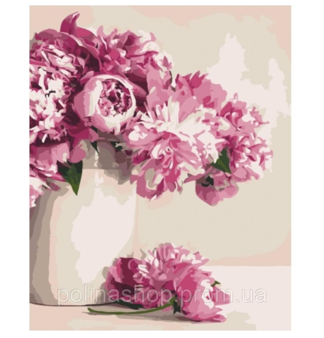 Картина по номерам. Цветы, букеты, натюрморт «Бархатные пионы» 40х50 см