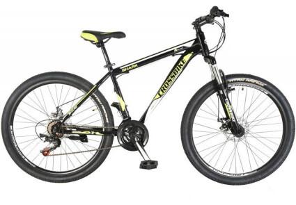 Велосипед 26 Cross Shark, сталь 17, 21 скорость, дисковые тормоза, (черно-красный-серебро, черно-неоновый желт