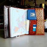 Обложка блокнот ежедневник кожа натуральная ручной работы формат листов А5 на кнопке, фото 3