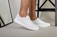 Кеды мужские кожаные белые с перфорацией, фото 1
