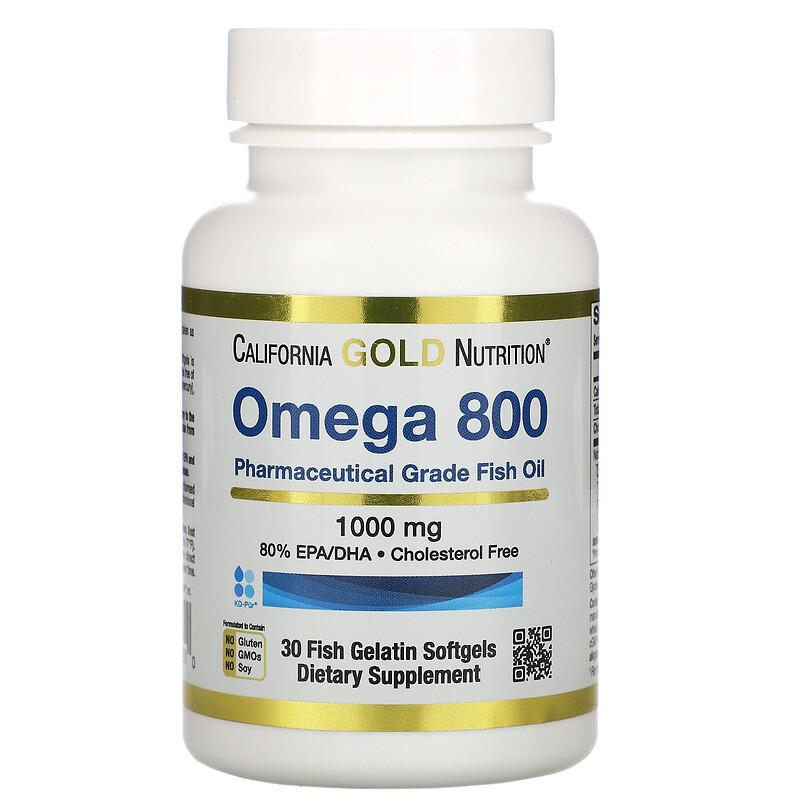 Омега 800 риб'ячий жир, Omega 800, California Gold Nutrition, 80% EPA/DHA, 1000 мг, 30 капсул