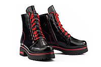 Женские ботинки кожаные зимние черные-красные Topas Casual 11143, фото 1
