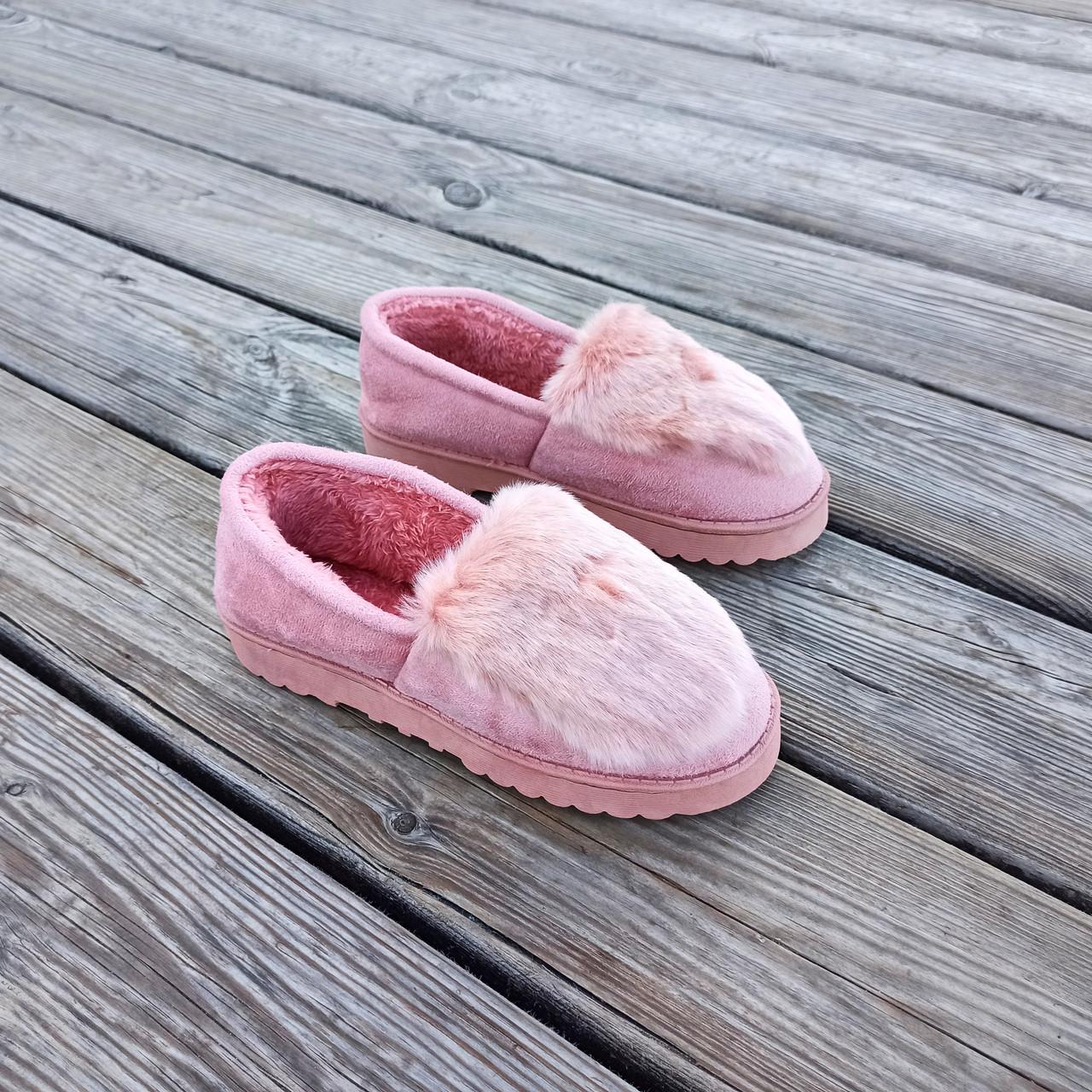 Рожеві теплі УГГІ короткі, сліпони хутряні autoledy автоледі унти укорочені теплі тапочки