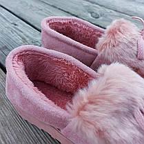 Рожеві теплі УГГІ короткі, сліпони хутряні autoledy автоледі унти укорочені теплі тапочки, фото 3