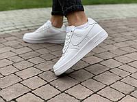 Кроссовки белые низкие натуральная кожа Nike Air Force Найк Аир Форс (36,37,38,39,40), Женские кроссовки