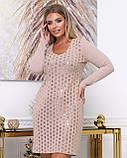 Платье из тонкой вязки повседневное, демисезонное, разные цвета р.48.50.52.54.56 Код Бордо, фото 6