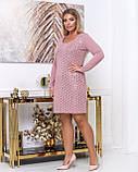Платье из тонкой вязки повседневное, демисезонное, разные цвета р.48.50.52.54.56 Код Бордо, фото 2