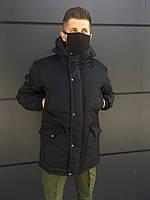 Зимняя мужская парка LC Imperial до - 30*С черная | Куртка удлиненная теплая с капюшоном ЛЮКС качества