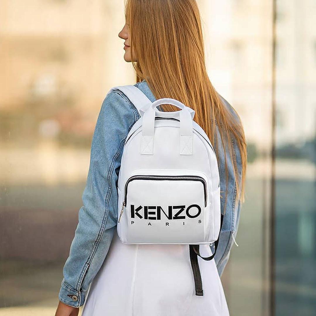 Стильный кожаный женский рюкзак KENZO, кензо. Белый