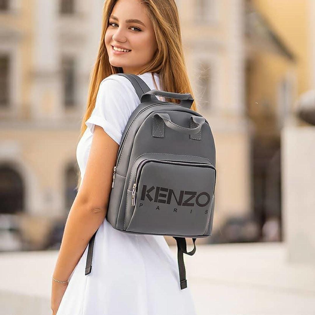 Стильный кожаный женский рюкзак KENZO, кензо. Серый