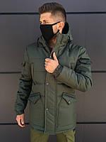 Зимняя мужская парка LC Imperial до - 30*С хаки | Куртка удлиненная теплая с капюшоном ЛЮКС качества