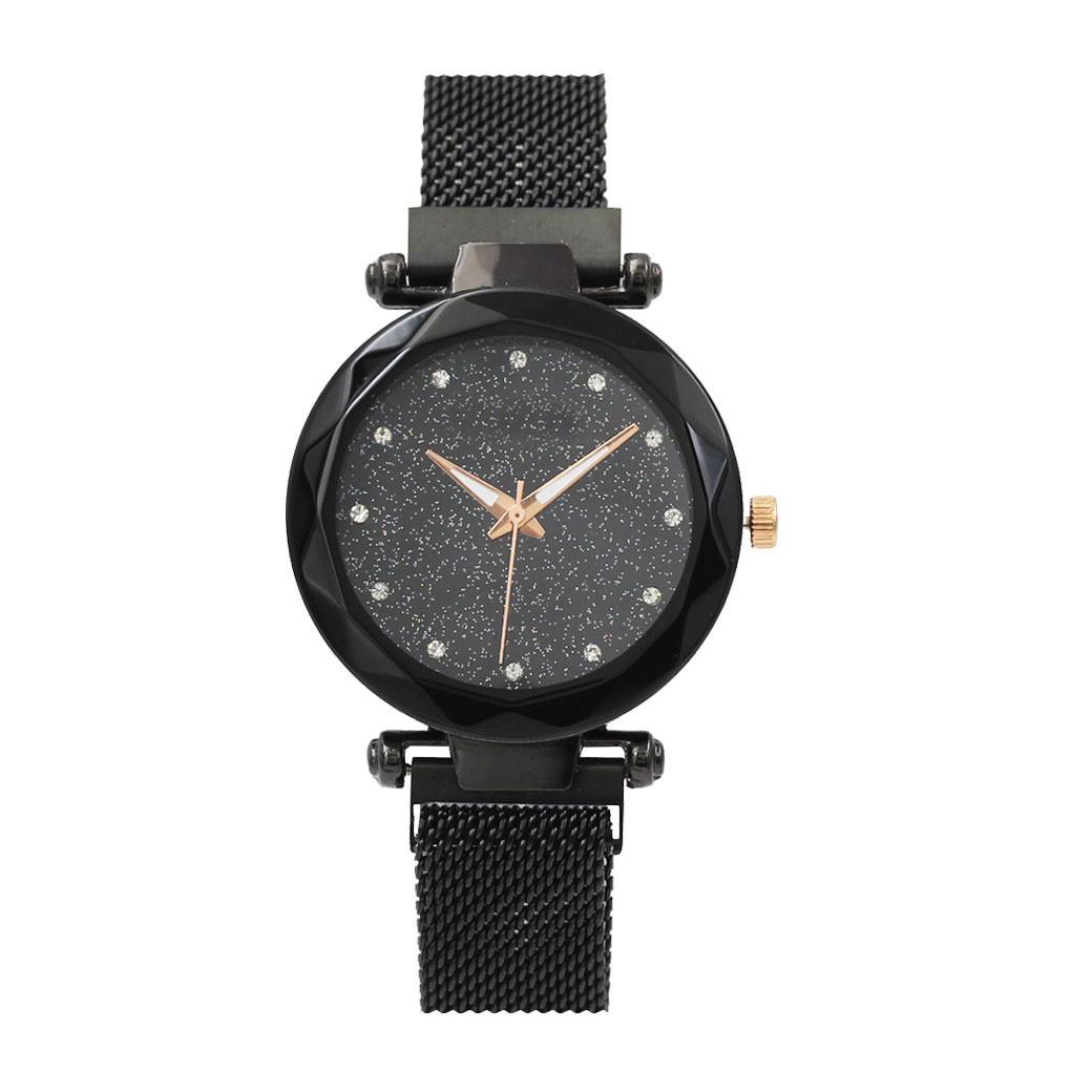 Часы кварцевые  Dimond  на  браслете с магнитом. Черный опт