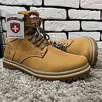 Зимние ботинки (на меху) Switzerland  13032  [ 41,43,45 ]. Мужские кожаные кроссовки. Мужская зимняя обувь