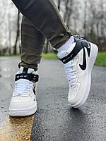 Кроссовки высокие натуральная кожа Nike Air Force Найк Аир Форс (41,43,45). Мужские, кеды повседневные
