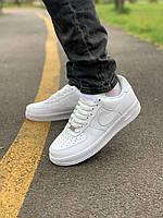 Кроссовки белые низкие натуральная кожа Nike Air Force Найк Аир Форс (41,42,43,44,45). Кеды повседневные