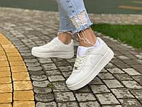 Кроссовки белые низкие натуральная кожа Nike Air Force Найк Аир Форс (36,37,38,39,40,41). Женские кроссовки
