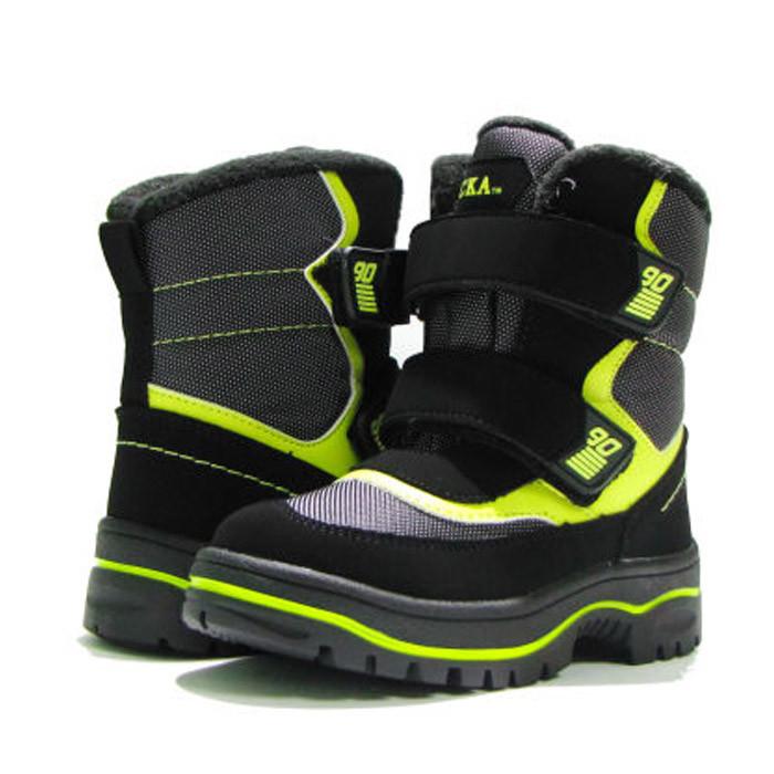 Зимние ботинки модель 7751 черный с салатовым. Качество. ТМ Сказка. Размер 30