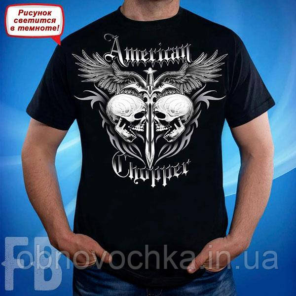 Мужская светящаяся футболка с черепом Amerikan Chopper размер M
