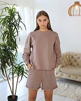 Коричневая трикотажная женская пижама с кофтой и шортами для дома и сна
