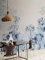 Фотошпалери безшовні флізелінові екологічно чисті Aguarelle акварель квіти кульбаби сині на бежевому фоні