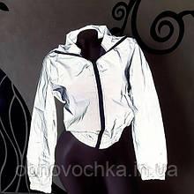 Жіноча світловідбиваюча коротка куртка бомбер розмір  S
