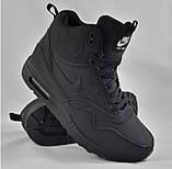 Кроссовки N!ke Air Мужские ЗИМА - МЕХ. Чёрные ботинки Найк, фото 3
