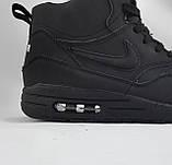 Кроссовки N!ke Air Мужские ЗИМА - МЕХ. Чёрные ботинки Найк, фото 8