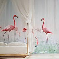 Фотошпалери безшовні флізелінові екологічно чисті Caribbean flamingo птиці рожевий фламінго на траві