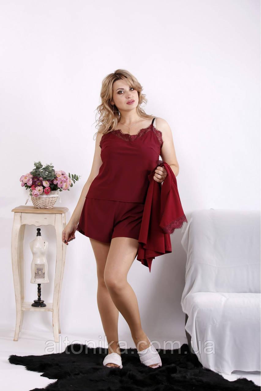 01606-1 | Бордовый шелковый домашний костюм 42