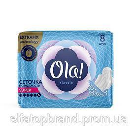 Гигиенические Прокладки Для Обильных Выделений Поверхность Сеточка Ола Ola NEW 8 шт 6 Капель